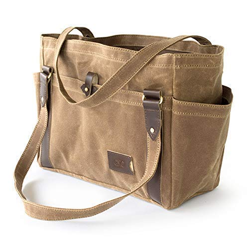 No. 521 Everyday Waxed Canvas Tote Bag with Pockets